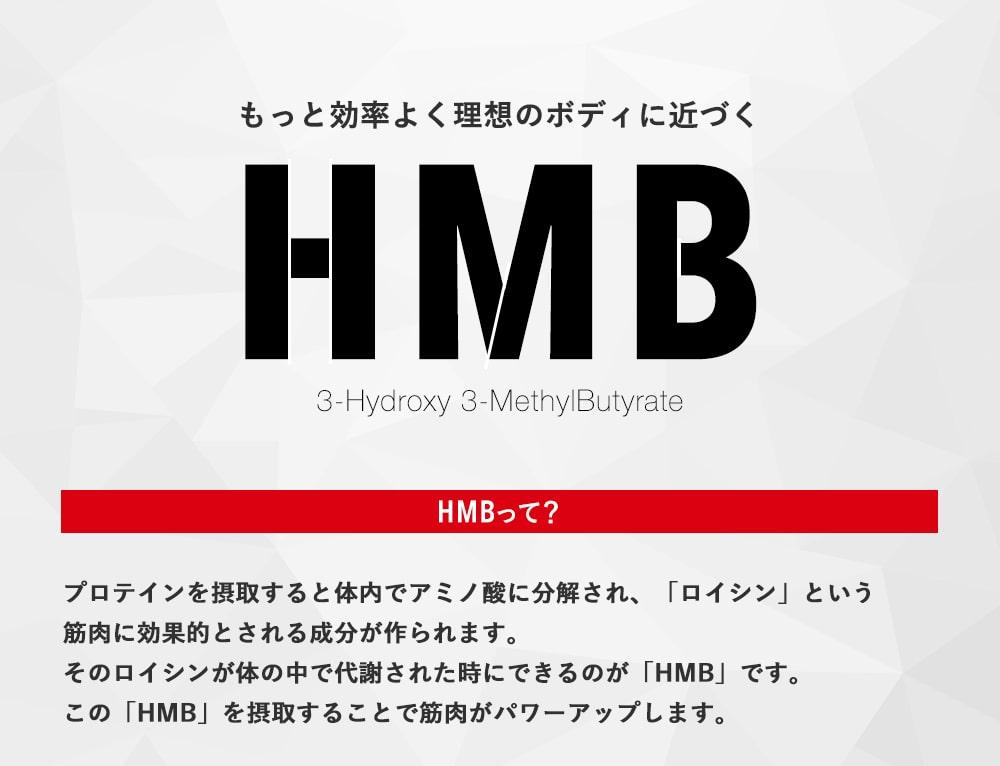 もっと効率よく理想のボディに近づく「HMB」HMBって?プロテインを摂取すると体内でアミノ酸に分解され、「ロイシン」という筋肉に効果的とされる成分が作られます。そのロイシンが体の中で代謝された時にできるのが「HMB」です。この「HMB」を摂取することで筋肉がパワーアップします。