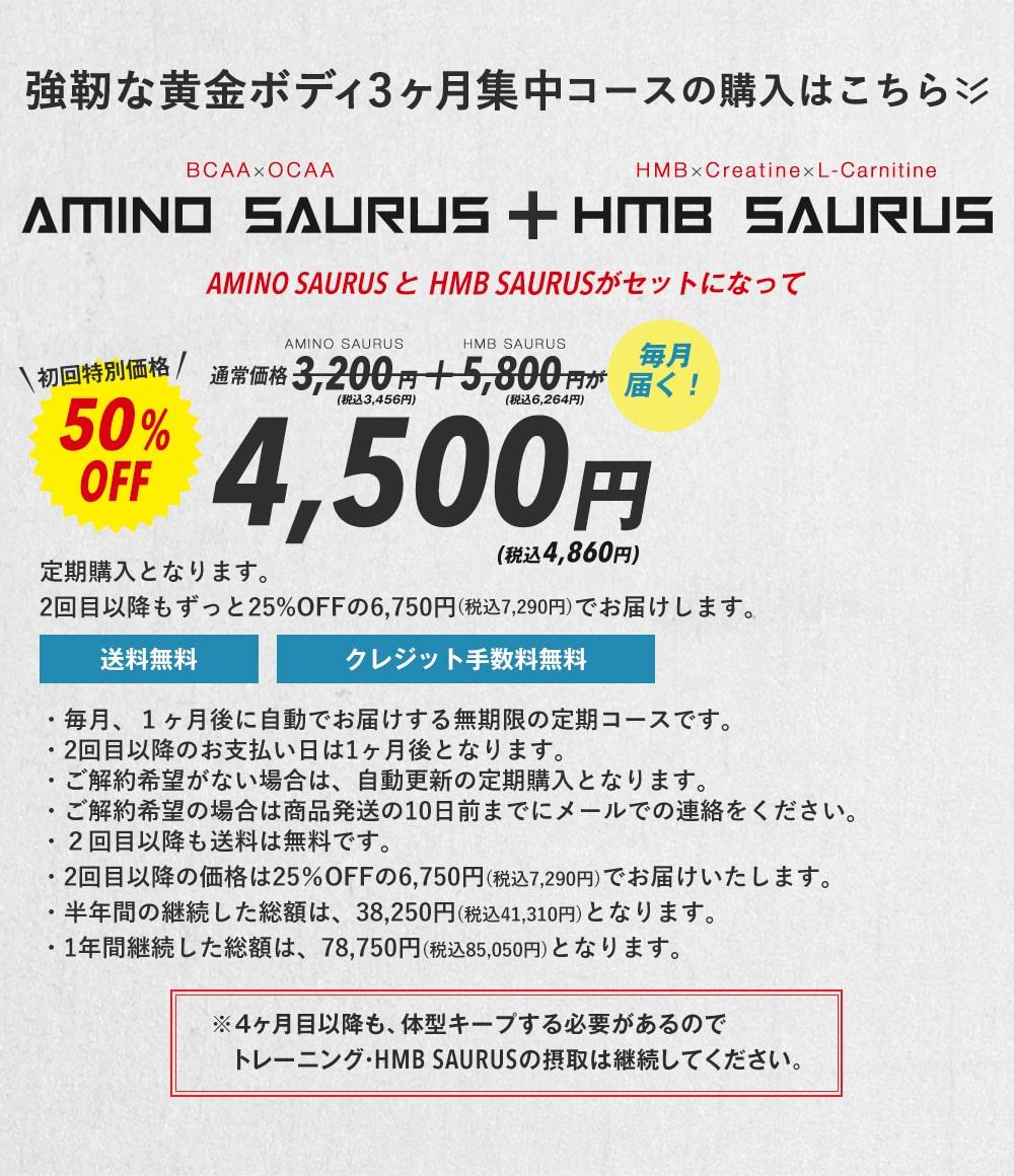 強靭な黄金ボディ3ヶ月集中コースの購入はこちら 毎月届く!AMINO SAURUSとHMB SAURUSがセットになって通常価格3,200円(税抜)+5,800円(税抜)が初回特別価格50%OFF4,500円(税抜)2回目以降もずっと20%OFFの6,750円(税抜)でお届けします。※当然、4ヶ月目以降も、体型キープする必要があるのでトレーニング・HMB SAURUSの摂取は継続してください。・毎月、1ヶ月後に自動でお届けする無期限の定期コースです。・2回目以降のお支払い日は1ヶ月後となります。・ご解約希望がない場合は、自動更新の定期購入となります。・ご解約希望の場合は商品発送の10日前までにメールでの連絡をください。・2回目以降も送料は無料です。・2回目以降の価格は25%OFFの6,750円(税抜)でお届けいたします。・半年間の継続した総額は、38,250円(税抜)となります。・1年間継続した総額は、78,750円(税抜)となります。